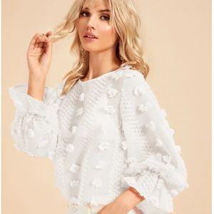 Sheer Pom-pom textured balloon sleeve blouse 3D